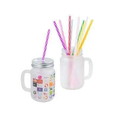 Frosted glass Mason Jar with straw
