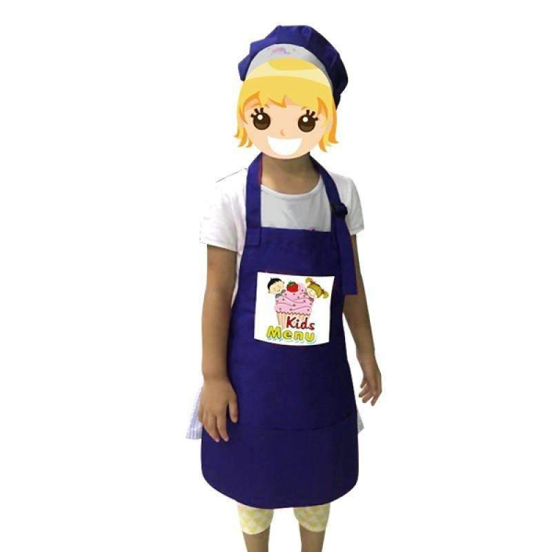 Toddler Apron with hat - Blue