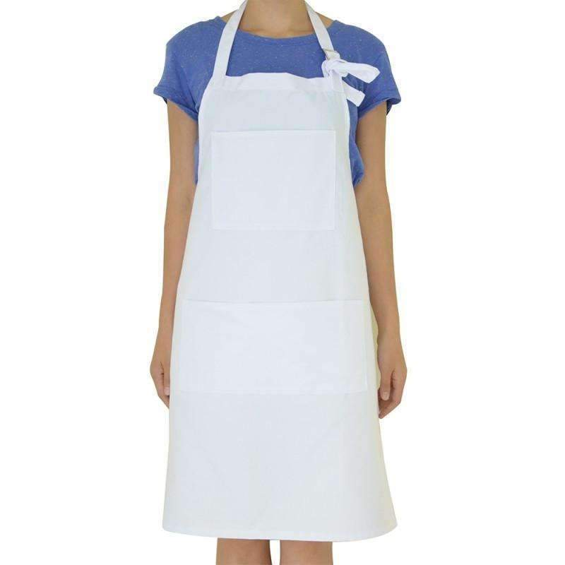 Adult Apron with Pocket - White