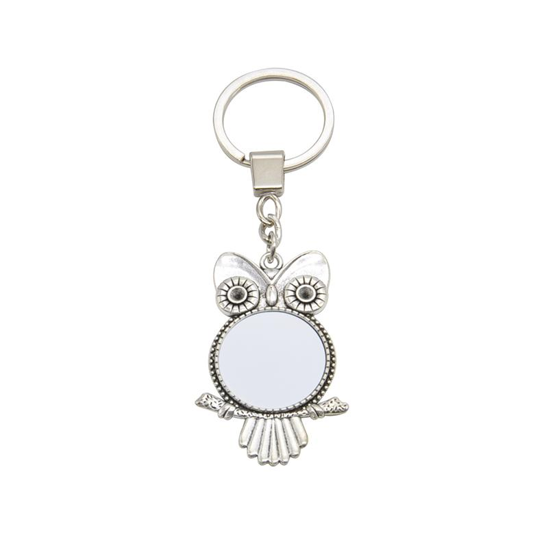 sublimation blank owl metal keyring