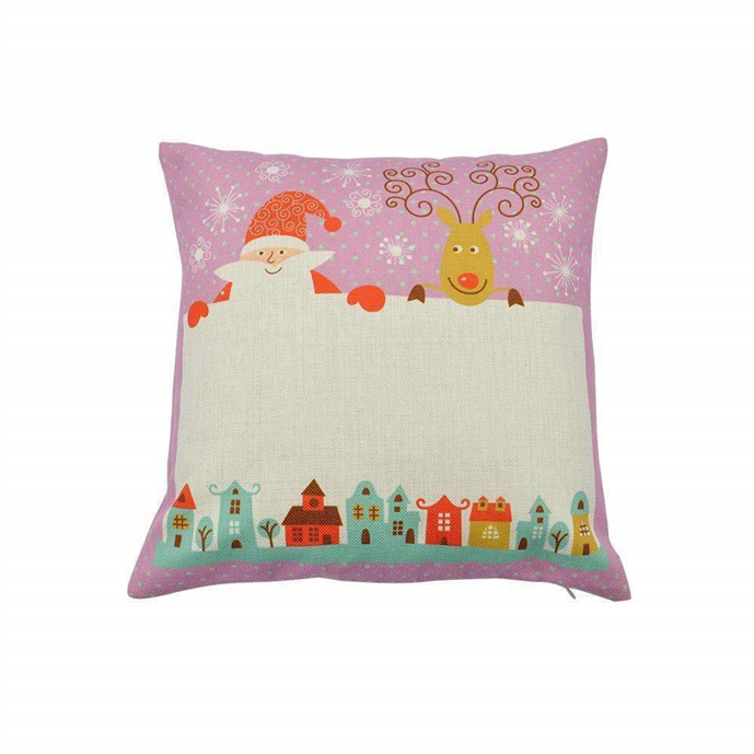 Pre Printed Linen Cushion cover  Pink sublimation blanks