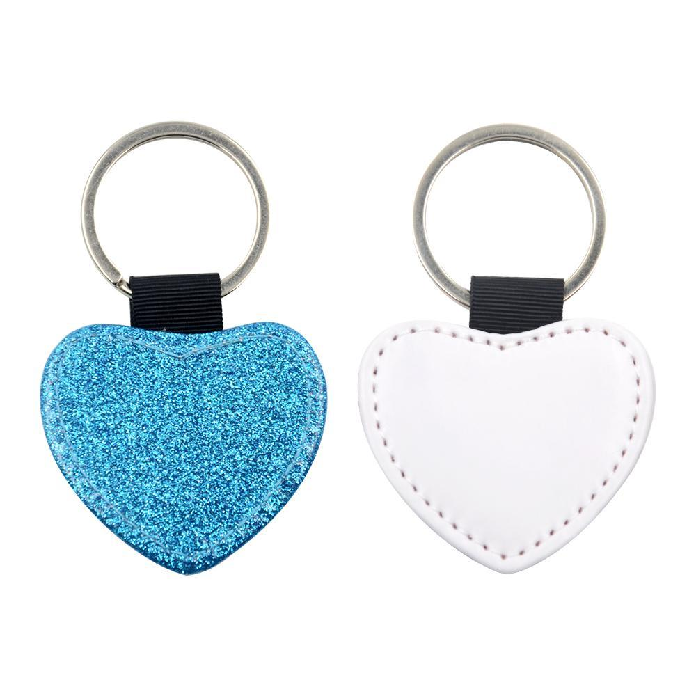 Sublimation Blanks blue glitter heart leather keyring