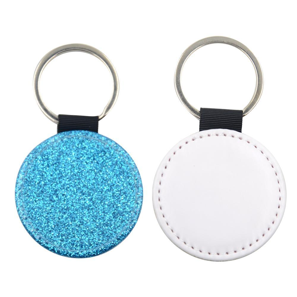 Sublimation Blanks blue glitter round leather keyring