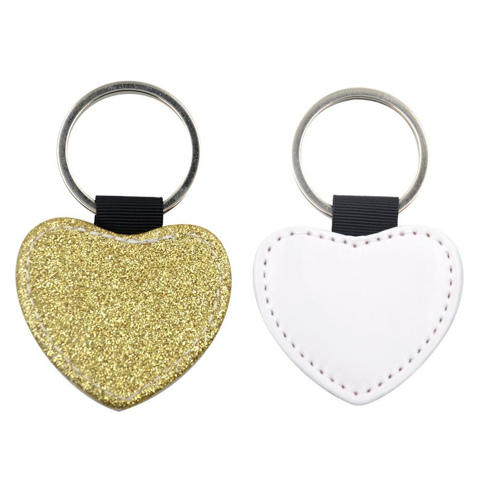 Sublimation Blanks gold glitter heart leather keyring