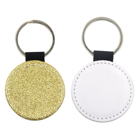 Sublimation Blanks gold glitter round leather keyring