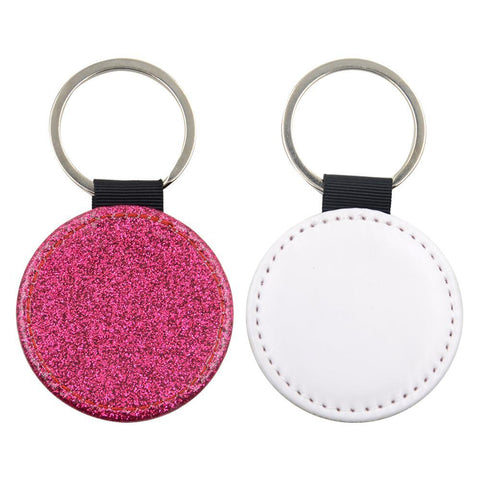Sublimation Blanks pink glitter round leather keyring