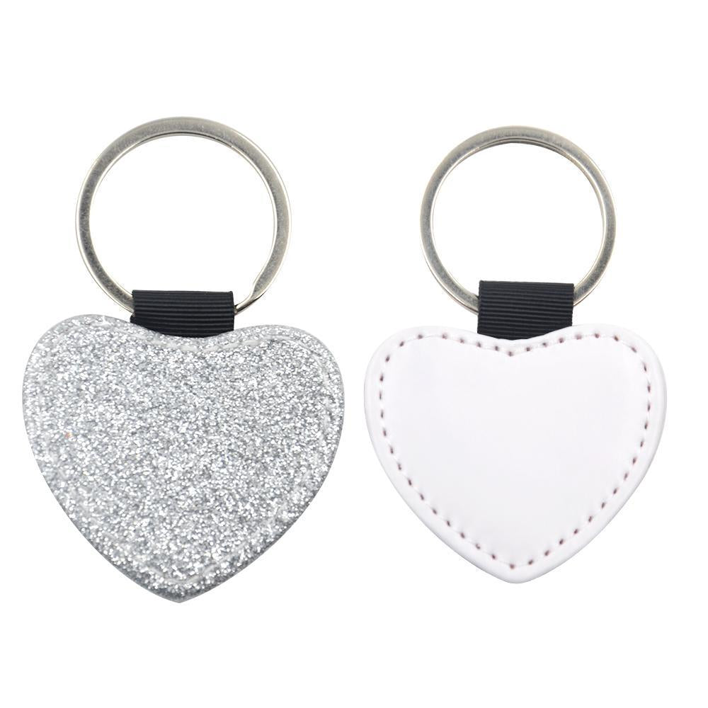 Sublimation Blanks silver glitter heart leather keyring