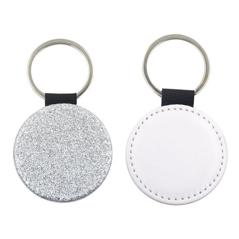 Sublimation Blanks silver glitter round leather keyring