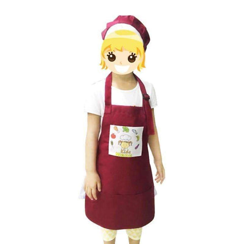 Kids Apron with hat - Red