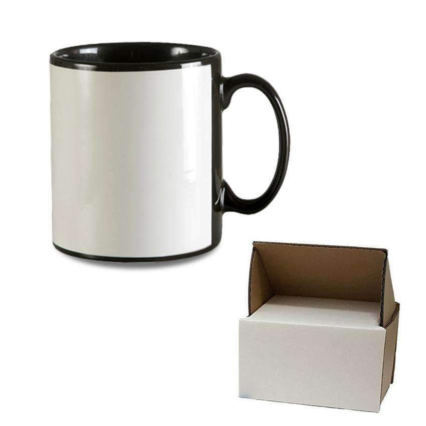 Sublimation blank 10oz Black Patch Mug - Plus mug box