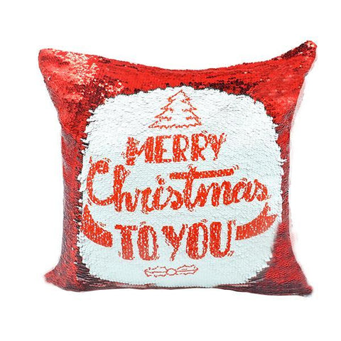 sublimation red sequin cushion cover