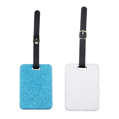 sublimation blank blue glitter luggage tag