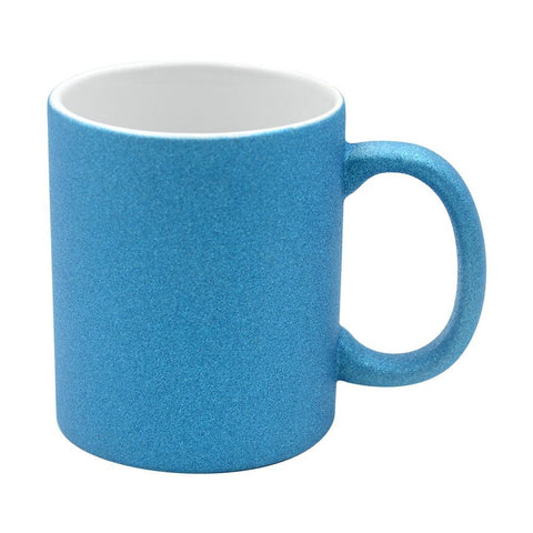 sublimation blank blue glitter mug