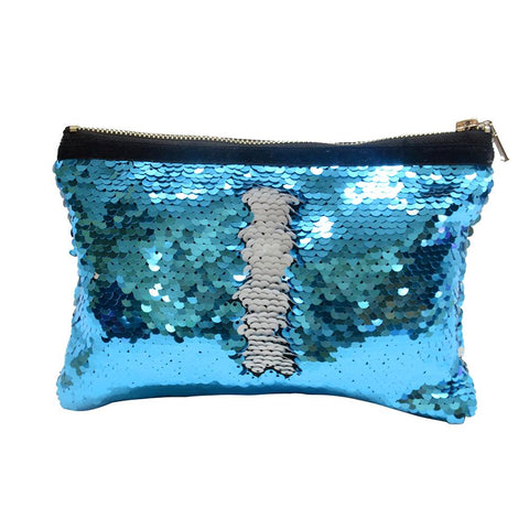 sublimation blank blue sequin cosmetic bag