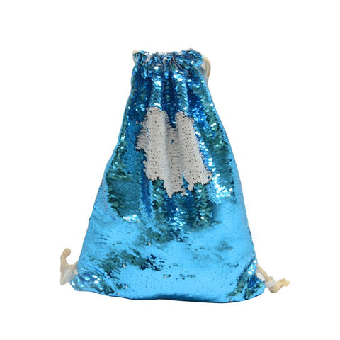 sublimation blank blue sequin drawstring bag