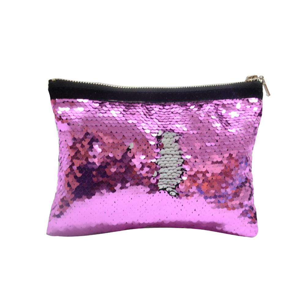 sublimation blank pink sequin cosmetic bag