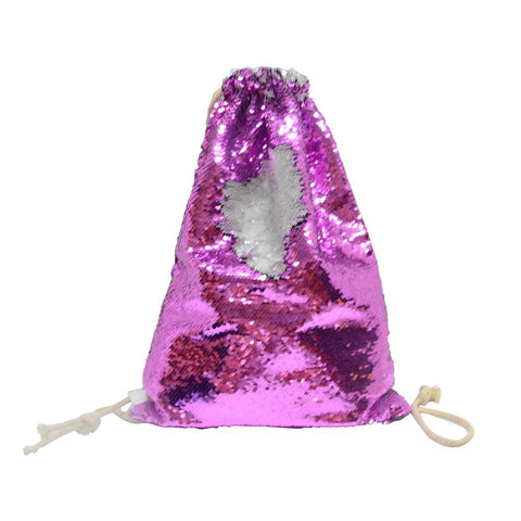 sublimation blank pink sequin drawstring bag