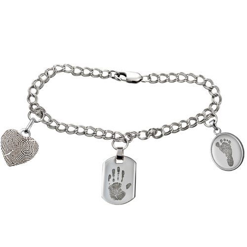 Sterling Double Link Charm Bracelet Fingerprint Memorial Jewelry-Jewelry-New Memorials-Afterlife Essentials