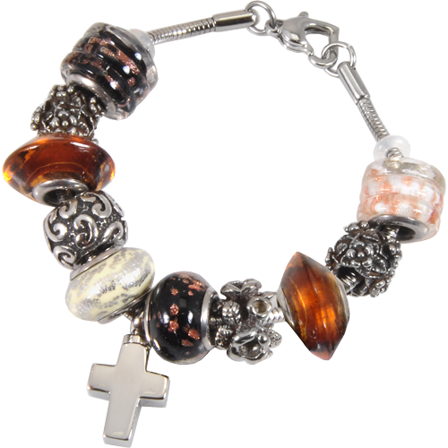 Remembrance Beads Urn Charm Bracelet - Autumn Gold Cremation Jewelry - Afterlife Essentials