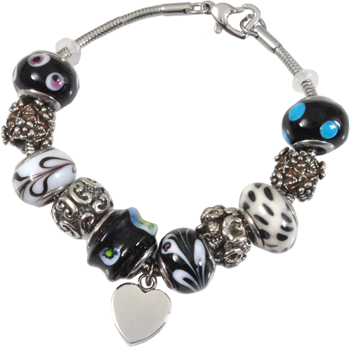Remembrance Beads Classic Black & White Charm Bracelet Cremation Jewelry-Jewelry-New Memorials-Afterlife Essentials