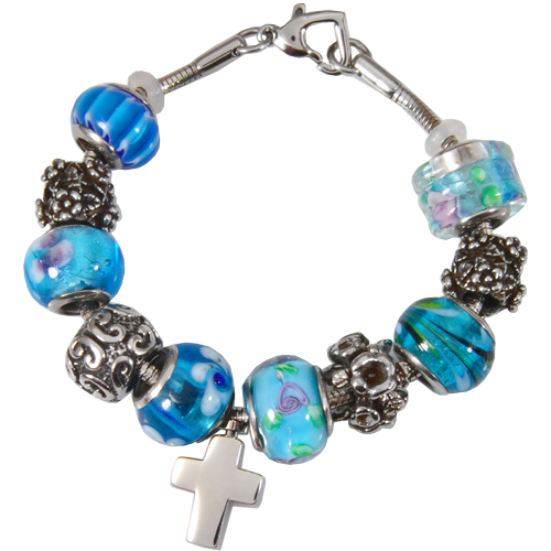 Remembrance Beads Celestial Blue Charm Bracelet Cremation Jewelry-Jewelry-New Memorials-Afterlife Essentials