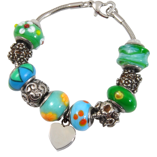 Remembrance Beads Eternal Green Charm Bracelet Cremation Jewelry-Jewelry-New Memorials-Afterlife Essentials