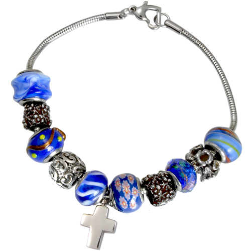 Remembrance Beads Urn Charm Bracelet - Nightfall Blue Cremation Jewelry - Afterlife Essentials