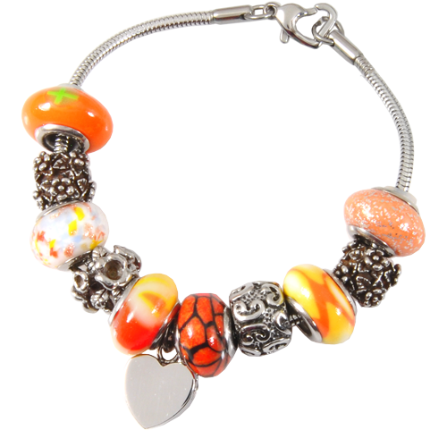 Remembrance Beads Sunset Orange Charm Bracelet Cremation Jewelry-Jewelry-New Memorials-Afterlife Essentials