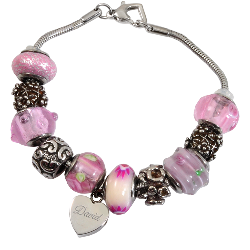 Remembrance Beads Pink Charm Bracelet Cremation Jewelry-Jewelry-New Memorials-Afterlife Essentials