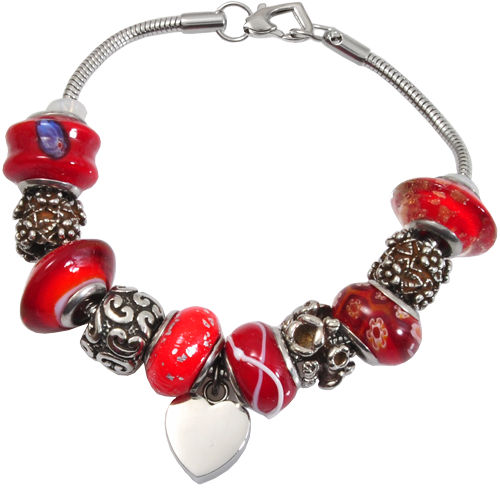 Remembrance Beads Vermilion Red Charm Bracelet Cremation Jewelry-Jewelry-New Memorials-Afterlife Essentials
