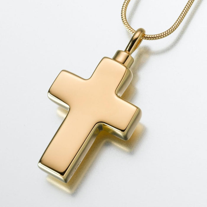 "Large Cross Pendant Cremation Jewelry-Jewelry-Madelyn Co-Gold Vermiel-Free 24"" Black Satin Cord-Afterlife Essentials"