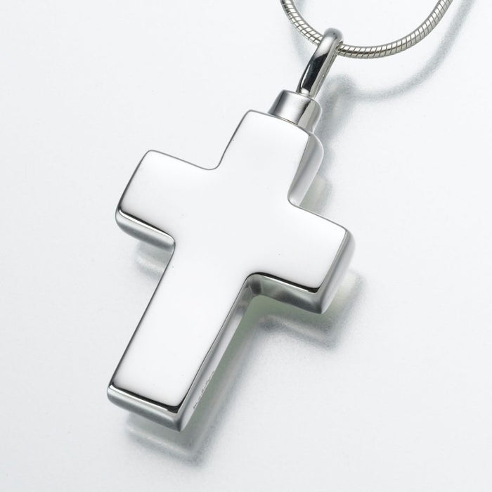 "Large Cross Pendant Cremation Jewelry-Jewelry-Madelyn Co-Sterling Silver-Free 24"" Black Satin Cord-Afterlife Essentials"