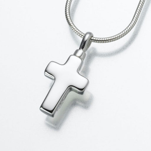 "Small Cross Pendant Cremation Jewelry-Jewelry-Madelyn Co-Sterling Silver-Free 24"" Black Satin Cord-Afterlife Essentials"