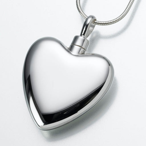 "Large Heart Pendant Cremation Jewelry-Jewelry-Madelyn Co-Sterling Silver-Free 24"" Black Satin Cord-Afterlife Essentials"