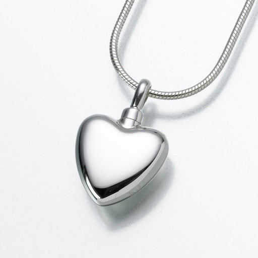 "Small Heart Pendant Cremation Jewelry-Jewelry-Madelyn Co-Sterling Silver-Free 24"" Black Satin Cord-Afterlife Essentials"