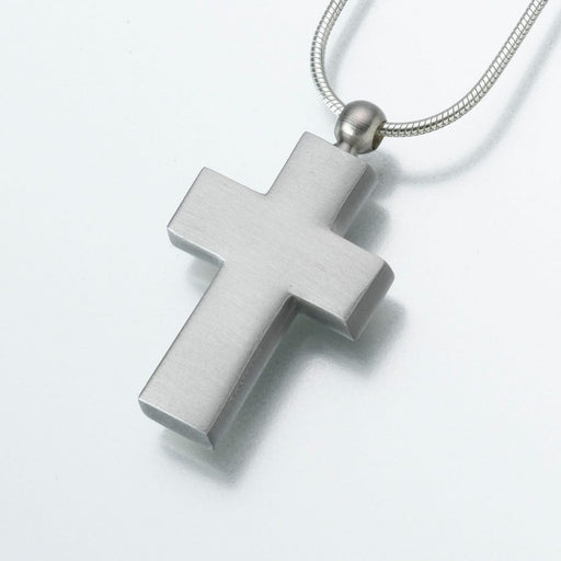 "Pewter Cross Pendant Cremation Jewelry-Jewelry-Madelyn Co-Pewter-Free 24"" Black Satin Cord-Afterlife Essentials"