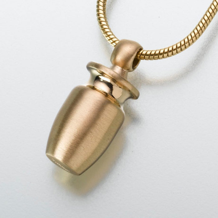 "Small Urn Pendant Cremation Jewelry-Jewelry-Madelyn Co-14K Yellow Gold-Free 24"" Black Satin Cord-Afterlife Essentials"
