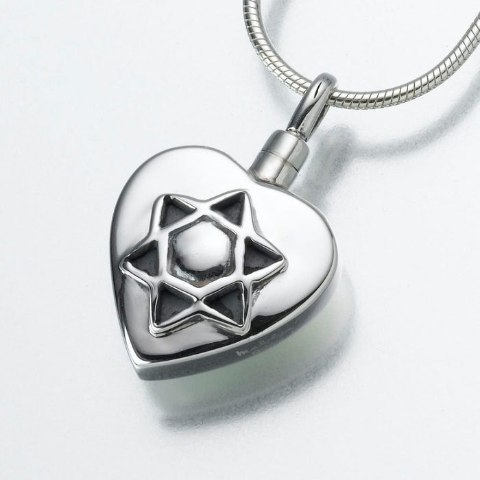 "Star of David Pendant Cremation Jewelry-Jewelry-Madelyn Co-Sterling Silver-Free 24"" Black Satin Cord-Afterlife Essentials"