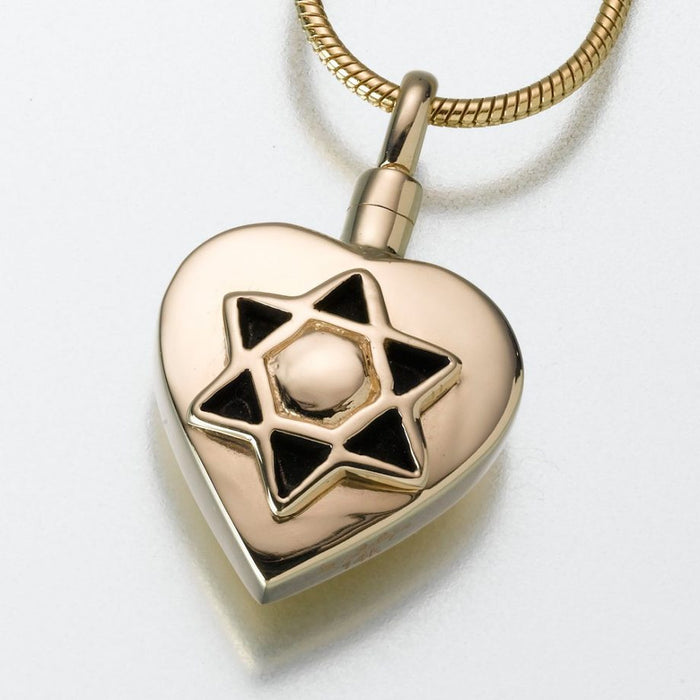 "Star of David Pendant Cremation Jewelry-Jewelry-Madelyn Co-14K Yellow Gold-Free 24"" Black Satin Cord-Afterlife Essentials"