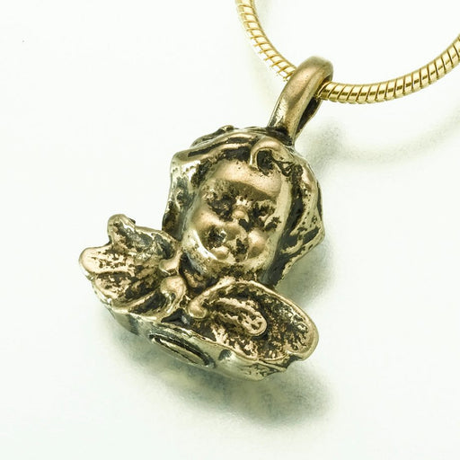 "Antique Cherub Pendant Cremation Jewelry-Jewelry-Madelyn Co-Bronze-Free 24"" Black Satin Cord-Afterlife Essentials"