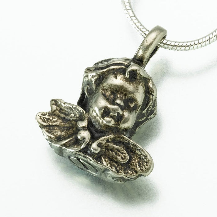 "Antique Cherub Pendant Cremation Jewelry-Jewelry-Madelyn Co-White Bronze-Free 24"" Black Satin Cord-Afterlife Essentials"