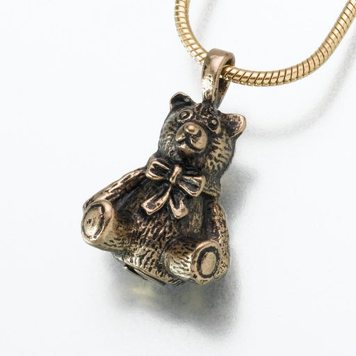 "Antique Teddy Bear Pendant Cremation Jewelry-Jewelry-Madelyn Co-Bronze-Free 24"" Black Satin Cord-Afterlife Essentials"