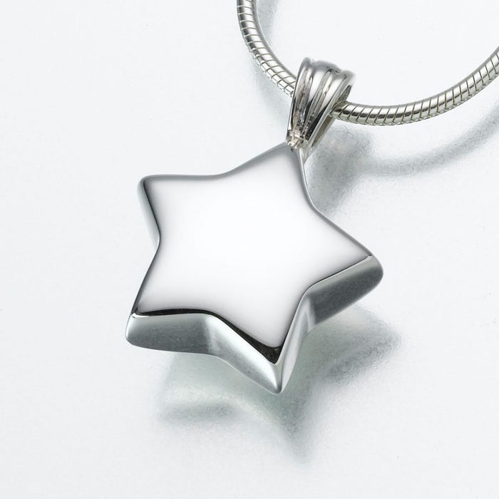 "Star Pendant Cremation Jewelry-Jewelry-Madelyn Co-Sterling Silver-Free 24"" Black Satin Cord-Afterlife Essentials"