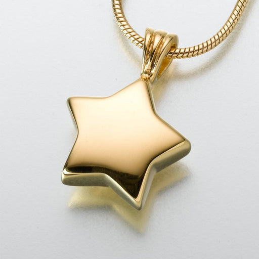 "Star Pendant Cremation Jewelry-Jewelry-Madelyn Co-Gold Vermiel-Free 24"" Black Satin Cord-Afterlife Essentials"