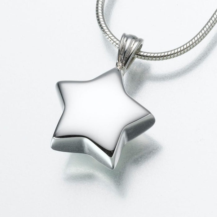 "Star Pendant Cremation Jewelry-Jewelry-Madelyn Co-14K White Gold-Free 24"" Black Satin Cord-Afterlife Essentials"
