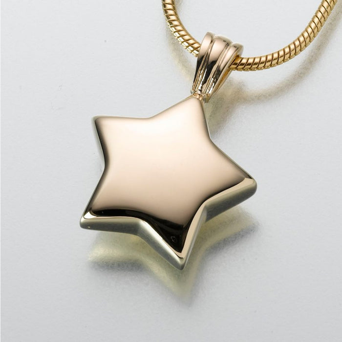 "Star Pendant Cremation Jewelry-Jewelry-Madelyn Co-14K Yellow Gold-Free 24"" Black Satin Cord-Afterlife Essentials"