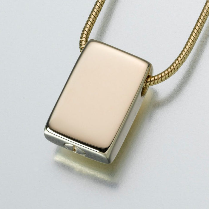 "Slide Rectangle Pendant Cremation Jewelry-Jewelry-Madelyn Co-Gold Vermiel-Free 24"" Black Satin Cord-Afterlife Essentials"