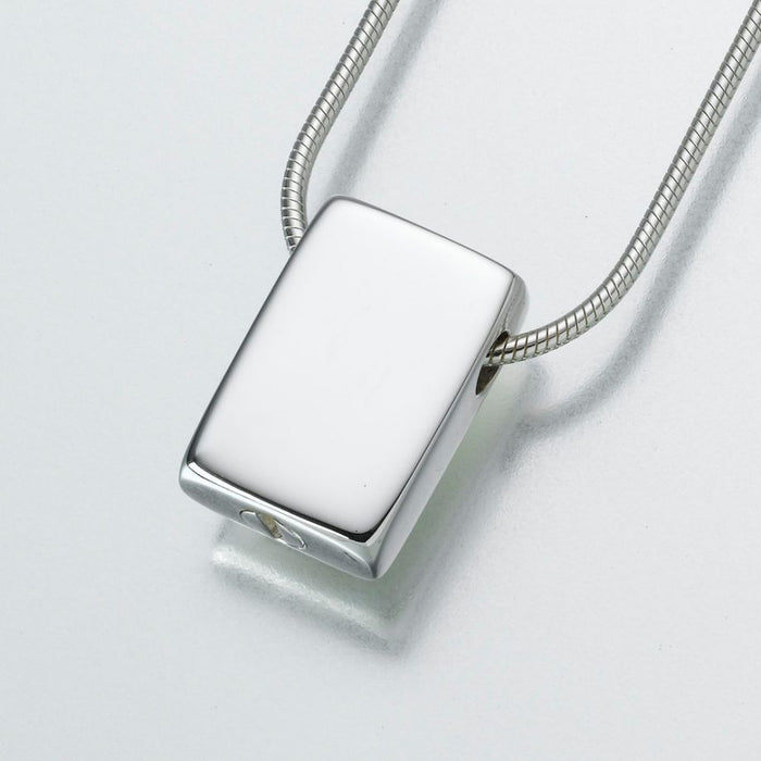 "Slide Rectangle Pendant Cremation Jewelry-Jewelry-Madelyn Co-Sterling Silver-Free 24"" Black Satin Cord-Afterlife Essentials"
