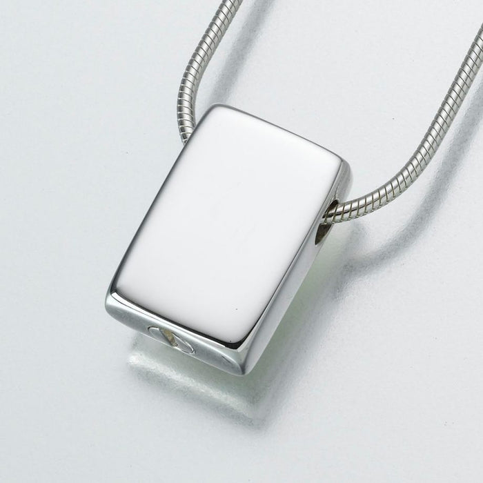 "Slide Rectangle Pendant Cremation Jewelry-Jewelry-Madelyn Co-14K White Gold-Free 24"" Black Satin Cord-Afterlife Essentials"