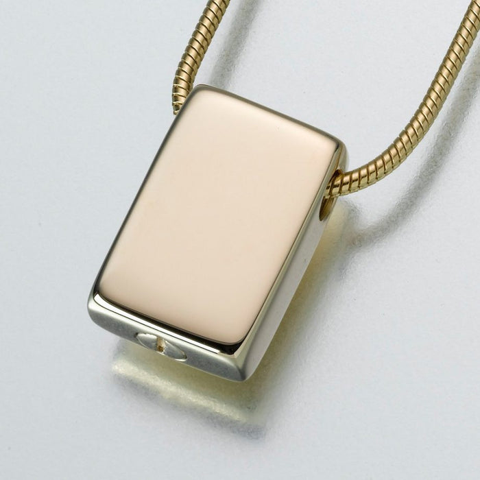 "Slide Rectangle Pendant Cremation Jewelry-Jewelry-Madelyn Co-14K Yellow Gold-Free 24"" Black Satin Cord-Afterlife Essentials"